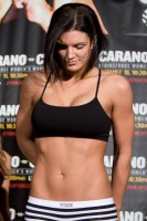 Photo: Esther Lin/Strikeforce - Gina Carano came in at 143, two pounds under the weight limit, for her historic fight with Cyborg at HP Pavilion in San Jose, Calif.