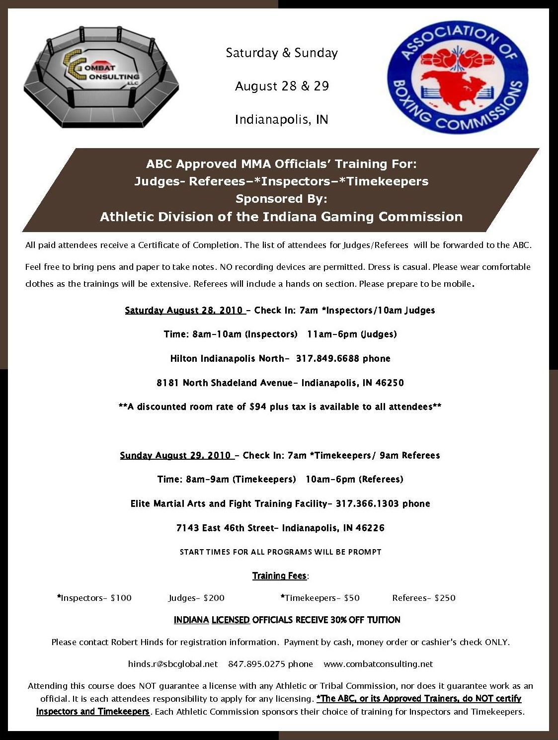 Mma Judges Referees Inspectors Timekeeper Training Aug 28 29