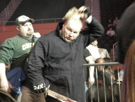 Johnathan Ivey removing his mask and wielding a machete as he enters the cage for his XFC fight against Chris Barnett in April 2009. Photo by Jack Bratcher for ProMMAnow.com