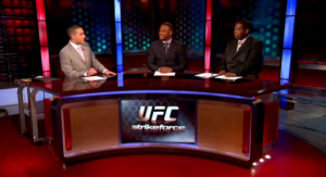 Jon Anik (left), Rashad Evans (center) and Franklin McNeil host this week's edition of MMA Live.