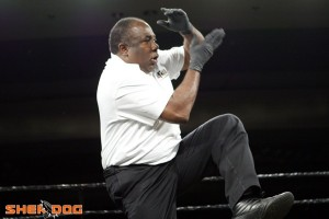 Sensei Cecil Peoples with his trademark Kung Fu move to start the bout. Photo courtesy of Sherdog
