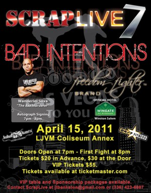 Come meet UFC veteran Wanderlei Silva at Scrap Live 7 event in Winston-Salem, NC