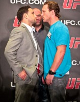 UFC lightweight champion Frankie Edgar (left) and Gray Maynard square off at the UFC pre-fight presser. Photo credit: Heavy