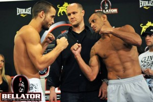 Pat Curran (left) and Marlon Sandro face off at the Bellator 48 weigh-ins. The two will battle in the featherweight tournament finals on Saturday. Photo courtesy of Bellator