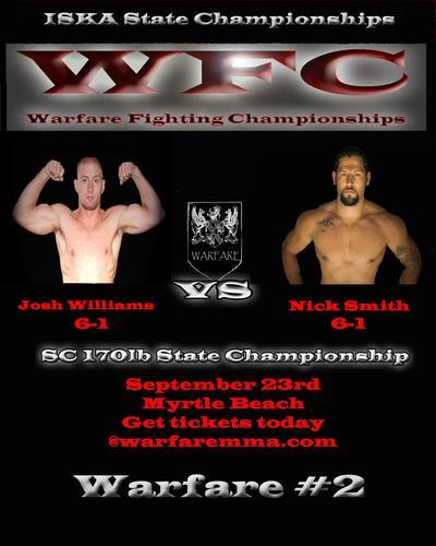 "Warfare MMA: ""ISKA State Championship Grand Prix"" set for September 23rd in South Carolina"