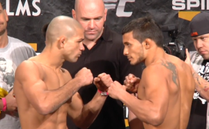 Diego Brandao (left) and Dennis Bermudez square off at the TUF 14 Finale weigh-ins. Photo credit: ProMMAnow.com