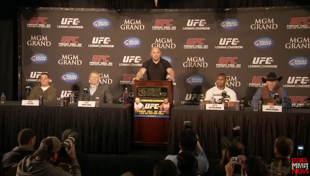 "Nate Diaz and ""Cowboy"" Cerrone scuffle at UFC 141 pre-fight press conference (full video)"