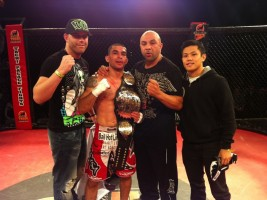 Ulysses Gomez, the new Tachi Palace Fights Bantamweight Champion, and the team that helped him win the title.
