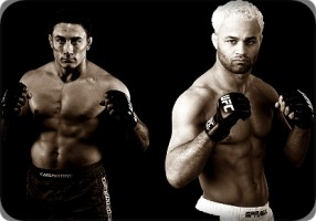Mike Pierce(left) battles Josh Koscheck at UFC 143