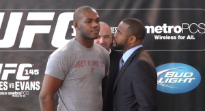 Jones (left) does is traditional non staredown against Rashad Evans