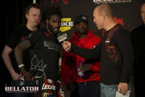 Daniel Straus (L) talks with commentator Jimmy Smith (R) after making weight for Bellator 65