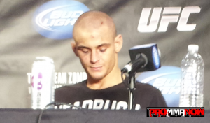 "UFC featherweight contender Dustin Poirier address the media after his loss to ""The Korean Zombie"" Chan Sung Jung at UFC on FUEL TV 3"