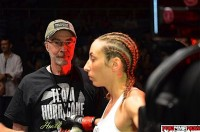 With her Father at her side, Heather Jo Clark gets inspected by the referee prior to XFC 18. Photo by Josh Cross for ProMMAnow.com