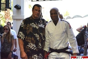 Sensei Steven Seagal (left) with his pupil and friend Anderson Silva. Photo by Joe Gugelman for ProMMAnow.com
