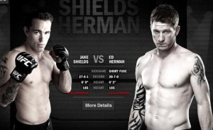 Jake Shields (left) will face Ed Herman at UFC 150