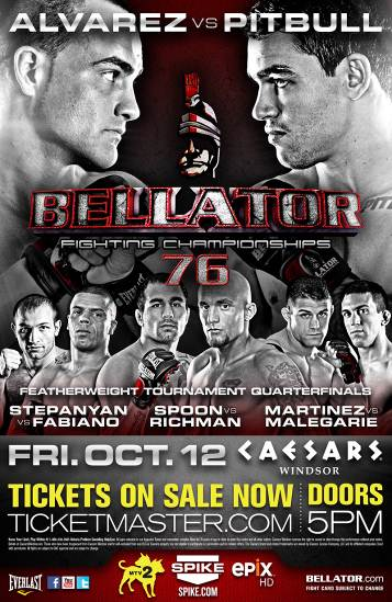 Bellator 76: Alvarez vs. Pitbull, Featherweight Tournament set for October 12th