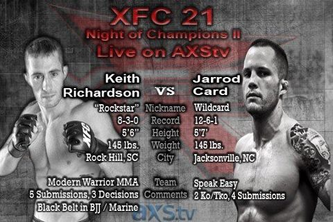 XFC 21: Jarrod Card in for Luke Sanders against Keith Richardson