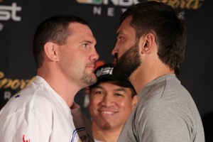Devin Cole(left) squares off against Andrei Arlovski
