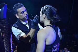 MMA cutman David Maldonado greasing a fighter