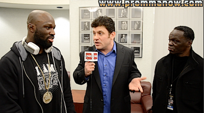 """King Mo"" Lawal (left) and his boxing coach Jeff Mayweather (right) talk with ProMMAnow.com reporter Daniel Theodore at Bellator 85 in Irvine, Calif."