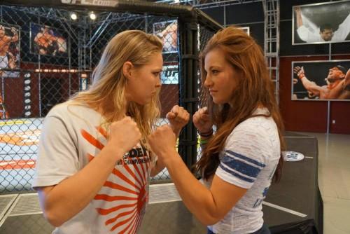 Ronda Rousey staredown with Miesha Tate - TUF 18