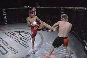 Kendall Grove with a front kick against Danny Mitchell. Photo courtesy Global Warrior Challenge