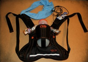 The Orange Mud HydraQuiver hydration pack fully loaded.