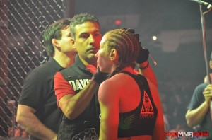 Cutman Maldonado prepping Heather Clark