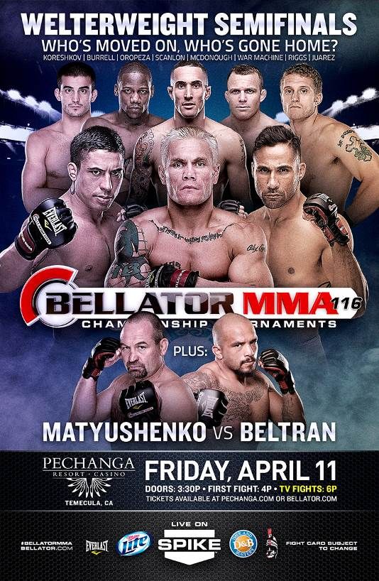 Bellator 116: Matyushenko vs. Beltran, Welterweight Semifinals set for April 11