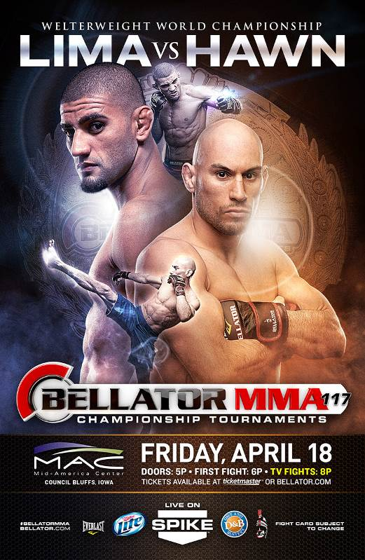Douglas Lima faces Rick Hawn for the welterweight title Friday April 18th at Iowa's Mid-America Center