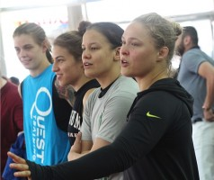 The Four Horsewomen include from left, Jessamyn Duke, Marina Shaffir, Shayna Baszler and Ronda Rousey. Photo credit: Joey Krebs/PMN