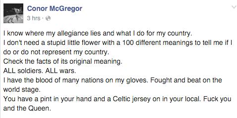 conor mcgregor facebook post poppy